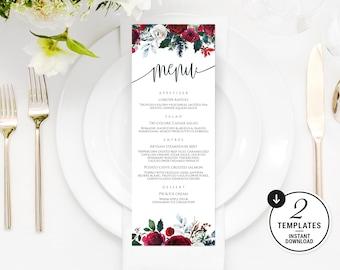 Printable Wedding Menu, Winter Wedding Menu, Christmas Dinner Menu, Wedding Menu Template, Burgundy Menu Cards, Marsala Wedding Menu