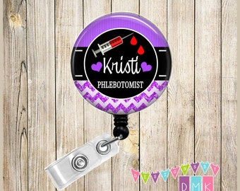 Personalized - Phlebotomist - Phlebotomy - Glitter Chevron - Button Badge Reel - Retractable ID Holder - Alligator or Slide Clip Unique Gift