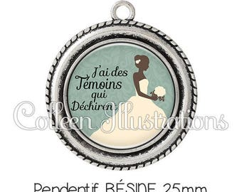 Cabochon 25mm pendant I have witnesses who tear bridal wedding dress - series 7