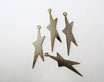 Sterling Star Charms, SS Star Charms, SS Flat Star Charms, Silver Star Charm, 26x8mm, lot of 4