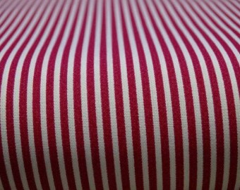 Fuschia stripe cotton fabric and white 2mm