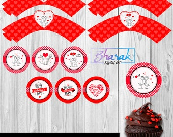 Printed cupcakes toppers & Wrappers Valentines.