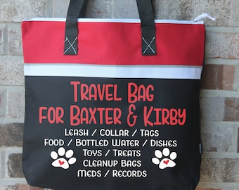Dog Travel Bag - Dog Owner Gift - Personalized Dog Lover Gift - Pet Travel Bag - Overnight Carry on Bag - Large Tote - Tote Bag with Zipper