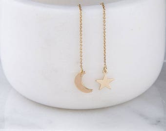 Moon and Star Ear Threader, Dangling Star and Moon Earrings, Celestial Earrings, Simple Gold, Silver or Rose Gold, Star and Moon Threaders