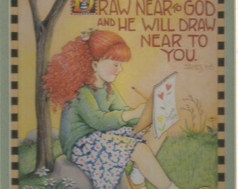 Draw Near to God and God Will Draw Near to You Framed Matted Mary Engelbreit Print