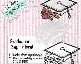 We Are 3 Digital Shop, Graduation Cap,  Graduate, Floral