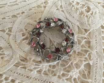 Elegant Restored Vintage Circle Brooch with Pink, Clear, and Madeira Topaz Rhinestones