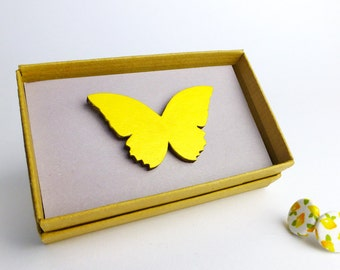 Yellow brooch | Yellow jewellery | Stocking filler | Butterfly jewelry | Butterfly brooch | Secret Santa | Small Christmas gift for her