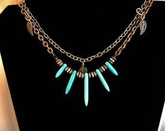 Handcrafted Necklace w/Chains and Faux Turquoise Spike Beads.