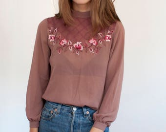 Embroidered mock neck blouse - semi sheer floral embroidery trellis top - S