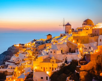 Oia at Sunset - Santorini - Sunset at Oia - Santorini Photograph - Oia Print - Fine Art - Wall Art - Orange - Blue  - Vibrant Sunset - 0179