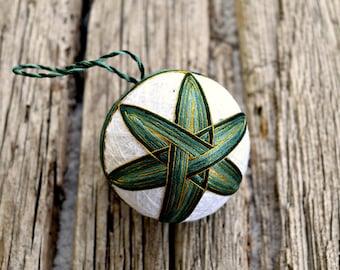 Bamboo Leaves Temari, Traditional Japanese Folk Craft Temari Ball, Pine Green Japanese Temari Ball Woven Design Christmas Bauble Fiber Art