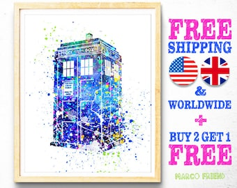Free Shipping, TARDIS Doctor Who Watercolor Art Poster Print - Home Decor - Wall Art - Kids Decor - Christmas Gifts - Holiday Gifts - 26