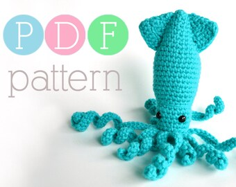 Amigurumi Sparkling Squid - Crochet PDF Pattern