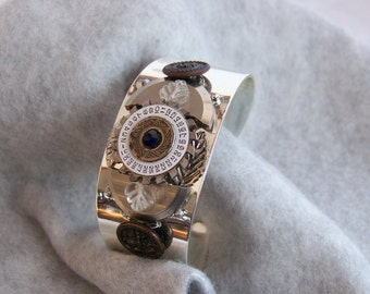 Steampunk Bracelet, Vintage Buttons and Watch Parts  SB025