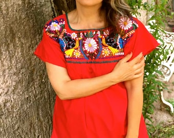 Embroidered mexican blouse, L & XL RED BLOUSE Frida style ,traditional  embroidered, boho