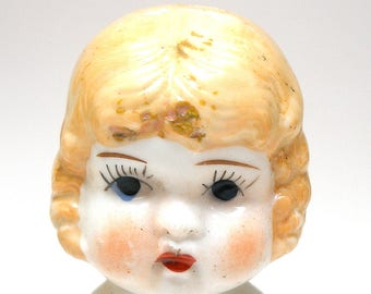 LG Vintage china doll head, Blonde. Made in Japan.