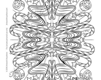 Ribbon Candy Cane Holiday Star Burst ~ Adult coloring page printable download ~hand drawn candies~  Candy Kaleidoscope by Artwork Anywhere