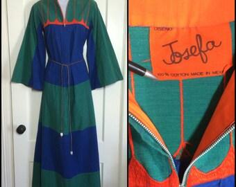 1970's Mexican Designer Josefa Hand Embroidered cotton long Maxi Dress Caftan looks size Medium Dark Blue Green Stripes Orange Embroidery