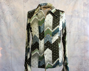 mens vintage polyester shirt by Triumph . green geometric pattern, 1970s button down shirt . APPROX small or medium