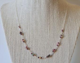 Watermelon Tourmaline and Garnet Necklace