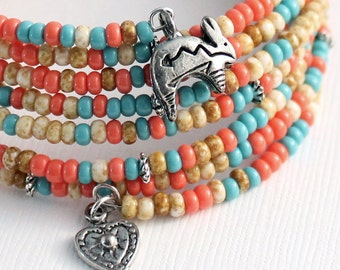 Memory Wire Bracelet - Southwest  Colors, Rabbit  Charms, Heart Charms or Lizard Charms