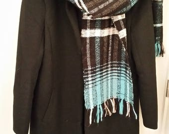 Black, turquoise and white woven scarf