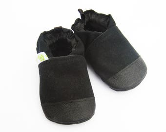 Organic Vegan Heavy Canvas Black / non-slip soft sole baby shoes / Made to order / babies toddlers preschool