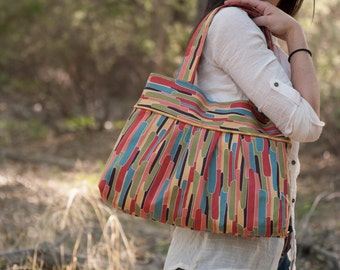 Sewing Pattern: Pleated Tote PDF download, beginner bag with interior pockets