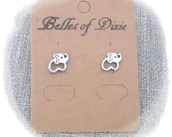 SILVER Elephant Stud Earrings ~ Elephant Post Earrings ~ Elephant Jewelry ~ Sorority Gift ~ Good Luck Jewelry