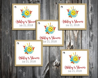 25 You Are My Sunshine Baby Shower Favor Tags.  Price includes personalization, printing.