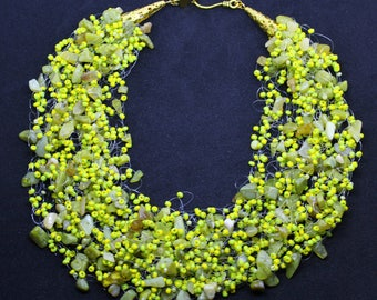 Honey green jade necklace, Nephrite necklace, Multistrand necklace, Green Crocheted necklace, Gemstones jewelry, Gift for Her, Jade Amulet