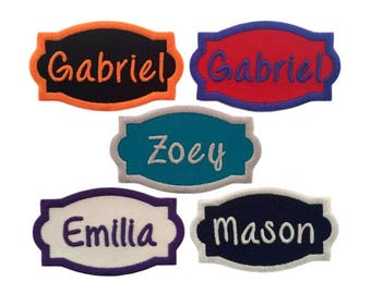 Custom Embroidered Name Tag Iron On Applique Patch-Choose Fabric And Thread Colors