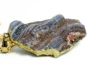 Raw Druzy Necklace - Natural Agate Druzy Pendant Necklace - Sparkle Druzy - Galaxy Necklace