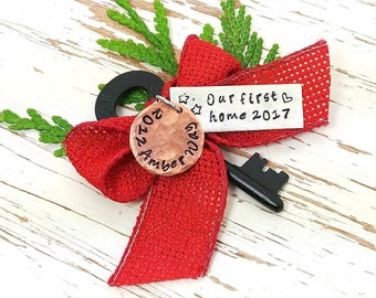 Our first home 2017 skeleton key ornament - personalized - realtor - housewarming - new home - hand stamped - stars heart - you choose color