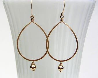 Long Gold Teardrop Earrings Beaded Teardrop Hoop Dangles Elegant 14k Gold Fill Earrings Arabesque Earring Wire Jewelry Wedding Jewelry