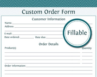Custom Order Form - Fillable - Business Planner - Printable Organizational PDF - Instant Download