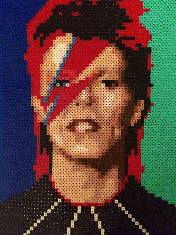 David Bowie Portrait Made Of Perler Beads