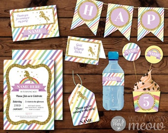 Bright Rainbow Unicorn Party Package Invitation Birthday Gold Glitter Thank You Cards Decoration Printable Kit DOWNLOAD Editable Personalize