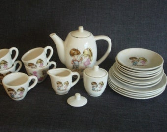 Childrens Porcelain Tea Set, Mixed Design Play Tea Set, Made In Japan Child's Tea Set