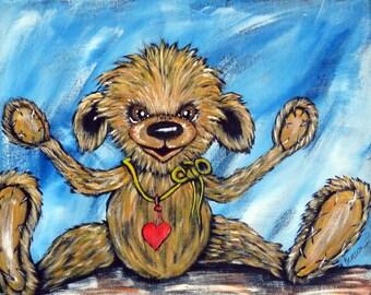 Teddy Bear painting, Original Acrylic Canvas Painting, Teddy Bear Lovers Wall Art, Nursery Wall Decor, Handpainted 11 x 14 inch gift idea