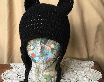Crocheted Black Cat Hat