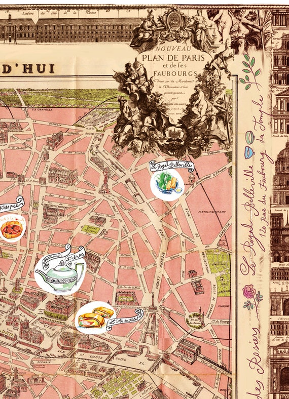 Paris Illustrated Map Print Decor Vintage: Vintage Paris Map Poster At Infoasik.co