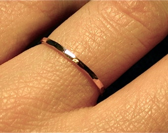 thin 14k YELLOW gold ring/ handmade wedding band/ Hammered finish/ simple wedding ring/ stacking band/ spacer ring/ textured band