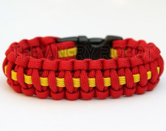 550 Paracord Survival Bracelet Cobra Deluxe - Red & Yellow