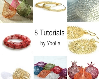 8 Crochet Wire Jewelry Patterns in PDF -  ring, sunflowers, hoops, necklace, pomegranates, pears, beads,bracelet,