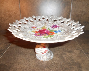 Vintage Pedestal Bowl / Candy Dish With Floral Design and Hand Holding Pedastal
