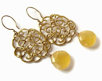 Gold and Yellow Chalcedony Statement Earrings