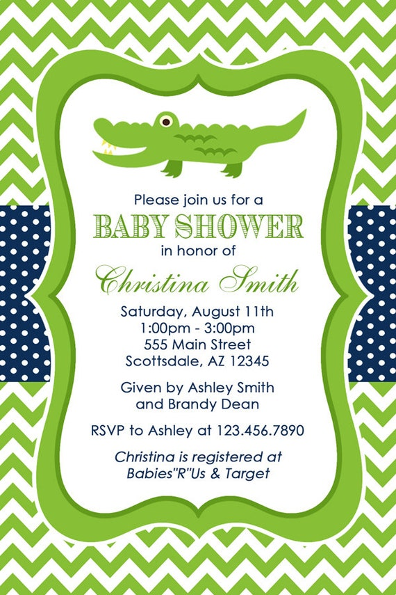 Alligator Baby Shower Invitation Crocodile Baby Shower