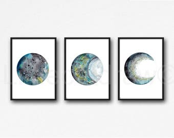 Moon Phase Print Set of 3 Black Gray Teal Moons Watercolor Prints Celestial Bedroom Wall Decor Wall Art Lunar Phases Home Decor Moon Print